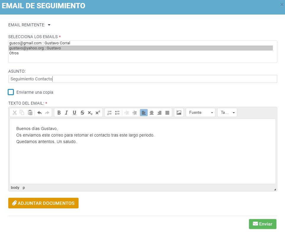 Email de seguimientos comerciales para clientes potenciales